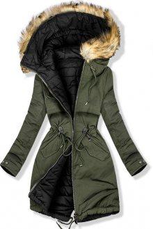 Oboustranná zimní bunda khaki/černá