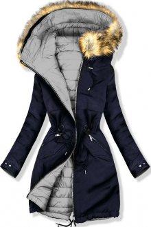 Oboustranná zimní bunda modrá/šedá
