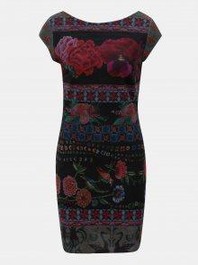 Vínovo-černé žebrované květované šaty Desigual