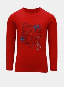 Červené holčičí tričko s potiskem Blue Seven