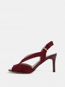 Vínové sandály v semišové úpravě na jehlovém podpatku Dorothy Perkins Britney