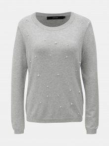 Světle šedý lehký žíhaný svetr s korálkovou aplikací VERO MODA