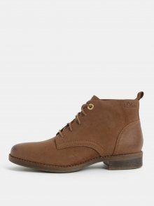 Hnědé kožené kotníkové boty s.Oliver