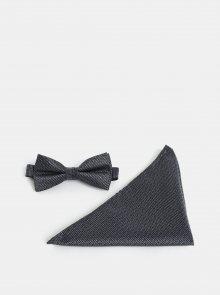 Černo-šedý motýlek s kapesníčkem Selected Homme Valdemar