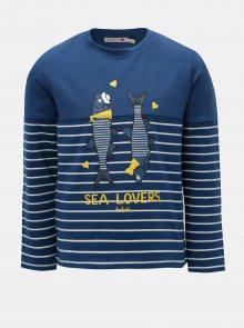 Tmavě modré holčičí pruhované tričko s potiskem ryb BÓBOLI