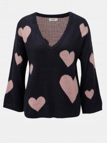Růžově-modrý vzorovaný svetr s véčkovým výstřihem Jacqueline de Yong Melange