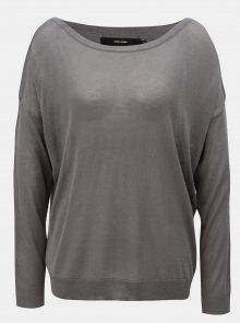 Tmavě šedý lehký oversize svetr s dlouhým rukávem VERO MODA