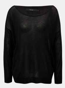Černý oversize lehký svetr s dlouhým rukávem VERO MODA