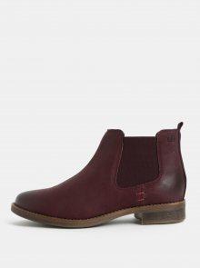 Vínové kožené chelsea boty s.Oliver