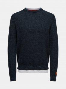 Tmavě modrý lehký svetr s všitou tričkovou částí ONLY & SONS
