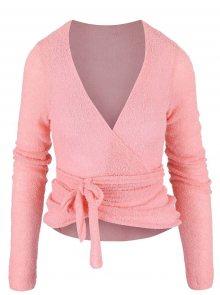 Růžový zavinovací svetr DEHA