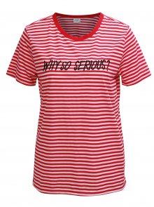 Bílo-růžové pruhované tričko s výšivkou Jacqueline de Yong Tolla
