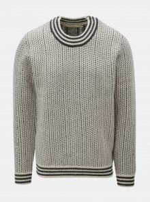 Šedo-krémový vlněný vzorovaný svetr SUIT Nordic