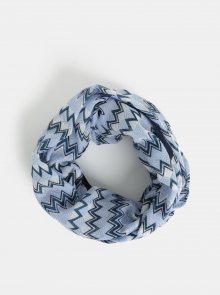 Krémovo-modrý vzorovaný dutý šátek Pieces Tricana