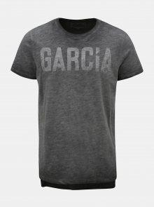 Šedé žíhané pánské tričko s potiskem Garcia Jeans