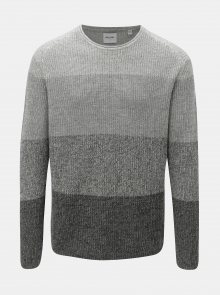 Šedý žíhaný svetr s pruhy ONLY & SONS Sato