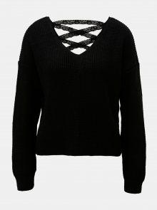 Černý krátký svetr s krajkovým šněrováním Miss Selfridge