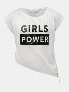 Bílé holčičí asymetrické tričko s potiskem Blue Seven
