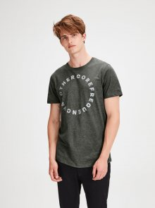 Tmavě zelené žíhané tričko Jack & Jones Gel