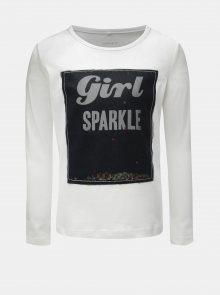 Bílé holčičí tričko s dlouhým rukávem a flitry Name it Norba