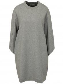 Světle šedé volné žíhané mikinové šaty Moss Copenhagen Ressler