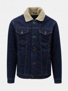 Tmavě modrá džínová bunda s umělou kožešinou Jack & Jones