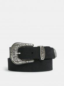 Černý kožený pásek s ozdobnou sponou VERO MODA Pernille