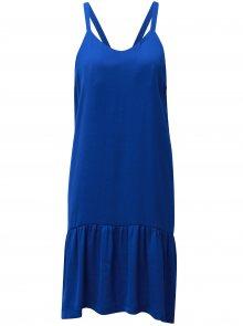 Modré šaty na ramínka s volánem v dolní části Moss Copenhagen