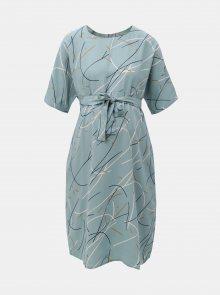 Světle modré vzorované těhotenské šaty se zavazováním Mama.licious Aslan