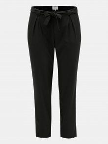 Černé kalhoty s vysokým pasem a zavazováním Zizzi