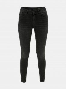 Tmavě šedé skinny džíny s lehce vyšisovaným efektem Noisy May Lucy