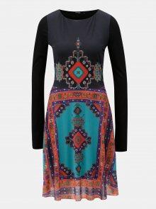 Černé šaty s aztéckým vzorem a dlouhým rukávem Desigual Julianne