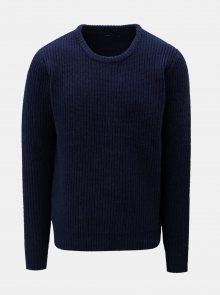 Tmavě modrý vlněný svetr SUIT Carsten