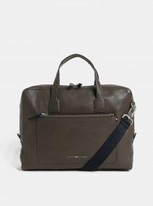Hnědá kožená taška na notebook Tommy Hilfiger