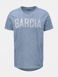 Modré žíhané pánské tričko s potiskem Garcia Jeans