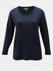Tmavě modrý lehký svetr s kapsami Ulla Popken