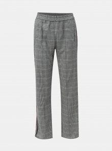 Černo-bílé kostkované kalhoty s bočními pruhy Miss Selfridge