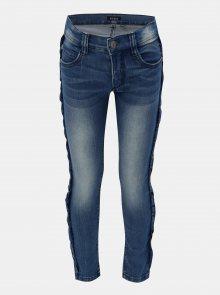 Modré holčičí džíny s volánem na nohavicích Blue Seven