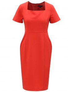 Červené pouzdrové šaty s hranatým výstřihem Dorothy Perkins