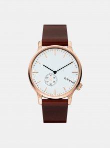 Unisex hodinky s tmavě hnědým koženým páskem Komono Winston Subs