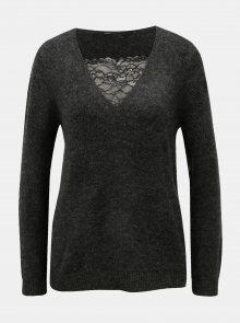 Černý žíhaný svetr s krajkou ONLY Miramar