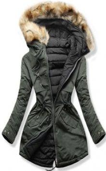MODOVO Dámská zimní bunda s kapucí W212 khaki-černá