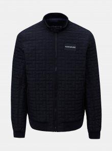 Tmavě modrá pánská prošívaná bunda s nášivkou Calvin Klein Jeans