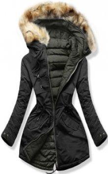 MODOVO Dámská zimní bunda s kapucí W212 černá-khaki