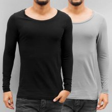 2-Pack Long Sleeve Black/Grey M