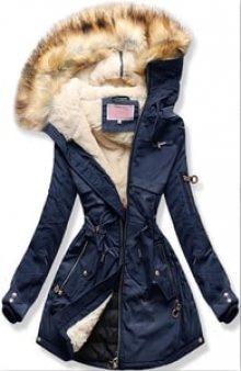 MODOVO Dámská zimní bunda s kapucí W169 tmavě modrá