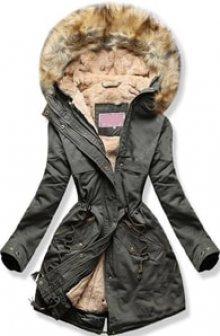 MODOVO Dámská zimní bunda s kapucí W166-1 khaki