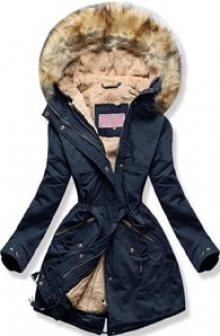 MODOVO Dámská zimní bunda s kapucí W166-1 tmavě modrá