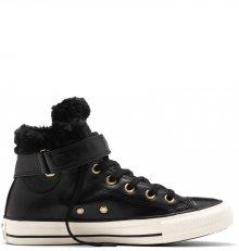 Converse černé kožené dámské boty Brea s kožíškem - 36