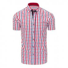 Červeno-tmavě modrá pánská košile mřížkovaný vzor s krátkým rukávem slim fit